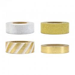 TAŚMY dekoracyjne samoprzylepne złoto-srebrne 40m 4szt