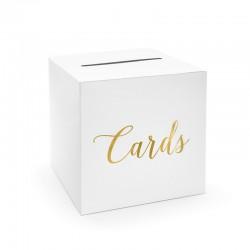PUDEŁKO na wizytówki i ulotki Cards ZŁOTE 24x24x24cm