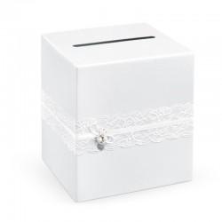 PUDEŁKO na wizytówki i ulotki białe z koronką 24x24x24cm