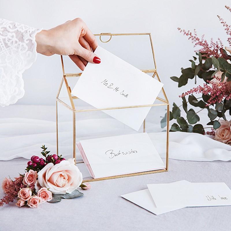 pudełko na wizytówki ze złotymi rantami