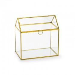 PUDEŁKO szklane ze złotymi rantami 13x21x21cm