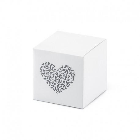 PUDEŁECZKA dekoracyjne kwadratowe ornamentowe serce 10szt 5x5x5cm