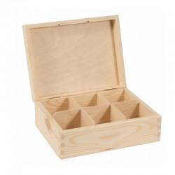 PUDEŁKO drewniane przegródki herbaciarka 22x16,5x8cm