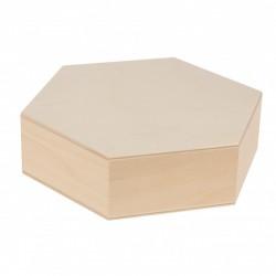 PUDEŁKO drewniane w kształcie heksagonu 15x15cm