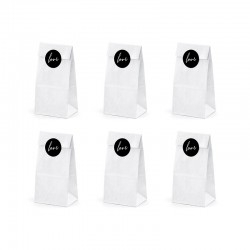 TOREBKI papierowe białe 7szt 8x18x6 cm Love