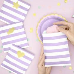 TOREBKI papierowe w paski 13x14cm Liliowe