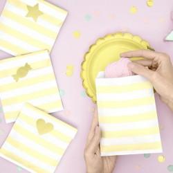 TOREBKI papierowe w paski 13x14cm Żółte