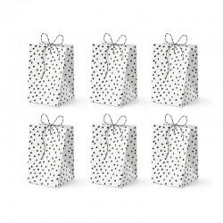 TOREBKI papierowe ze sznurkiem Black&White 6szt 7x12x7cm