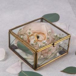 SZKATUŁKA szklana na biżuterię kwadratowa 8,5x8,5cm