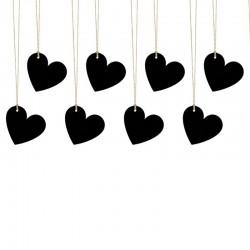 ZAWIESZKI dekoracyjne serca czarne 10szt 5x4,5cm