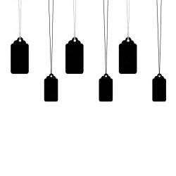 ZAWIESZKI dekoracyjne z falbanką czarne 6szt MIX 3,2x6,5cm
