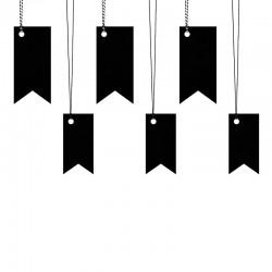 ZAWIESZKI dekoracyjne flaga czarne 6szt MIX 4,3x9cm