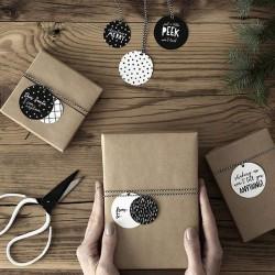 ZAWIESZKI świąteczne kółka biało-czarne 12szt MIX 5cm