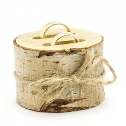 PODSTAWKA drewniana z nacięciami na obrączki, pierścionki 6cm