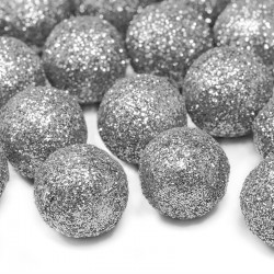 KONFETTI brokatowe kulki srebrne 25szt 2cm