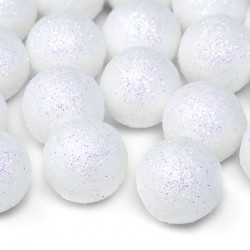 KONFETTI brokatowe kulki białe 25szt 2cm