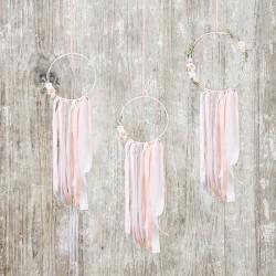 ŁAPACZE snów dekoracyjne 3szt BIAŁE+RÓŻ
