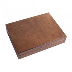PUDEŁKO drewniane kasetka dwie przegródki 16x13cm CIEMNY BRĄZ