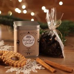 ŚWIĄTECZNA PUSZKA z herbatą na prezent Zimowy Wieczór Z LOGO