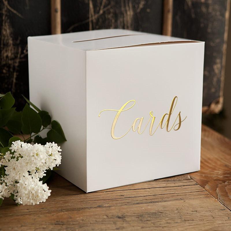 pudełko na wizytówki ze złotym napisem