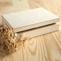 PUDEŁKO drewniane kasetka dwie przegródki 16x13cm