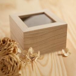 PUDEŁKO drewniane z szybką 9,5x9,5x6cm