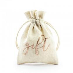 WORECZKI bawełniane na upominki napis Gift ROSEGOLD 10szt