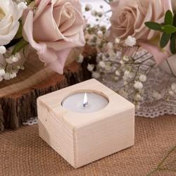 ŚWIECZNIK drewniany na tealight NATURALNY 4cm